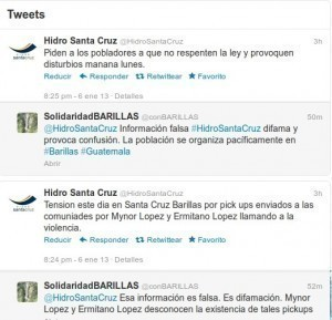 Instantánea de los rumores propagados por Hidro Santa Cruz, para generar zozobra en la población barillense.