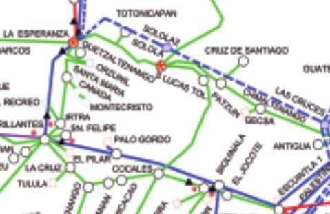 Fuente:Administrador del Mercado Mayorista (AMM). Informe Estadístico 2012 *Las lineas discontinuas pintadas en azul, representan las Lineas de Transmisión de 230 KW que deben ser construidas.