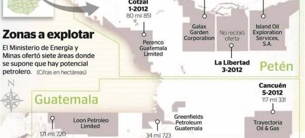 Infografía de las áreas petroleras concesionadas. Fuente: Prensa Libre.
