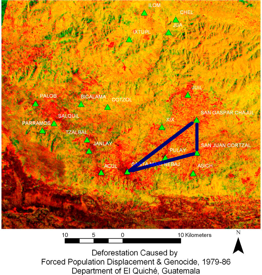 Imagen satelital del genocidio ixil.