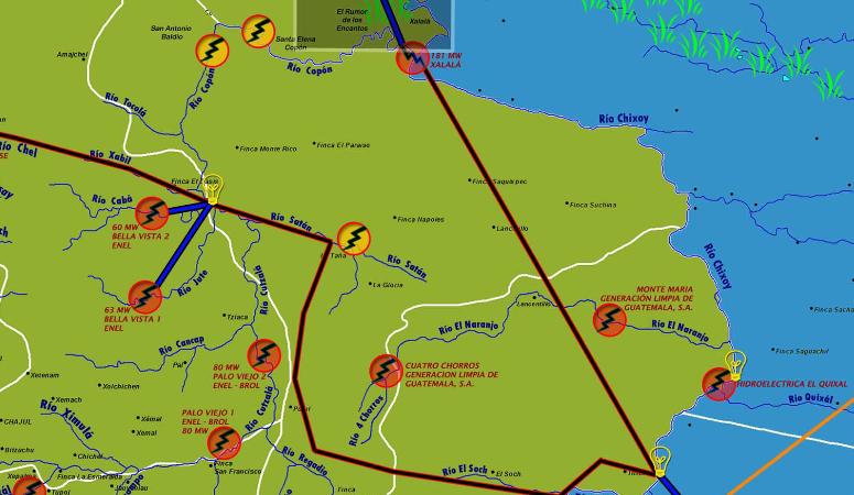 """Xalalá se conectaría al """"anillo hidráulico"""" de interconexión eléctrica del PET (linea roja).  y Forma parte de un conjunto de hidrólectricas panificadas, en construcción y funcionamiento que se ubican sobre las principales cuencas de Quiché. Alta Verapaz. Fuente:  http://resistenciadlp.webcindario.com"""