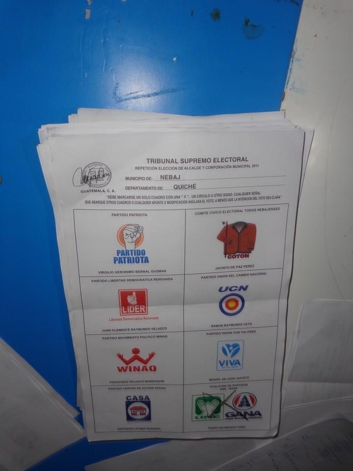 Papeleta utilizada para la repetición de las elecciones.