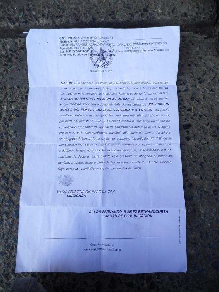 Acta del Organismo Judicial donde consta su detención
