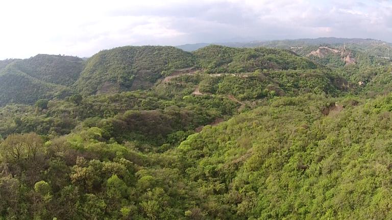 Vista de pájaro. Al fondo se logra ver un corte en la montaña. Julio 2014.