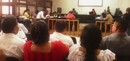 Periodista Rony Ivan Véliz, testifica ante el tribunal. Fotografía: Roderico Díaz, Centro de Medios Independientes de Guatemala.