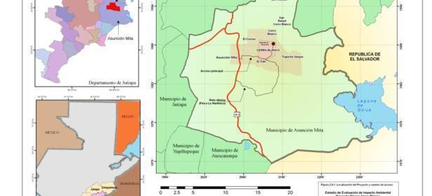 """Mapa de la cuenca afectada por la mina """"Cerro Blanco"""", len el área limítrofe entre Guatemala y El Salvador. ( Imagen: Entre Mares. http://goldcorpguatemala.com/entre-mares/  )"""