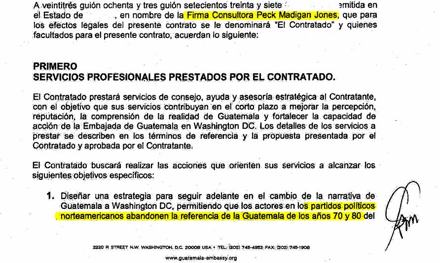 Fragmento de contrato entre el Estado de Guatemala y la consultora que contrató a Reich.