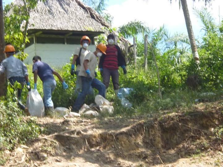 Empleados de la palmera recogiendo los peces muertos y llevándolos en costales .