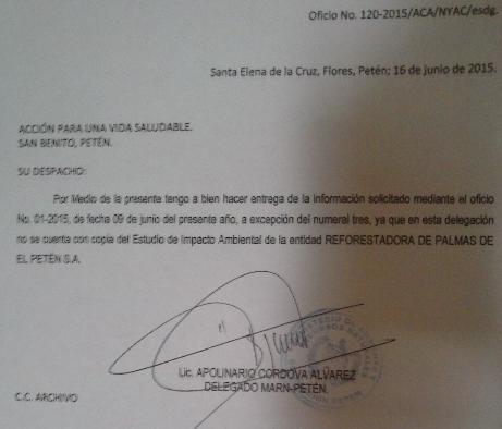 Carta del MARN que confirma ausencia de EIA por parte de Repsa.