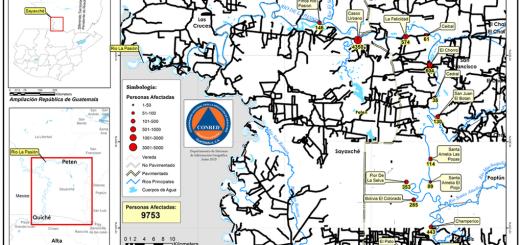 El mapa muestra las comunidades y número de población afectada por la contaminación denunciada en mayo y junio de 2015. Fuente: Conred http://www.conred.gob.gt/www/images/130620152P.png