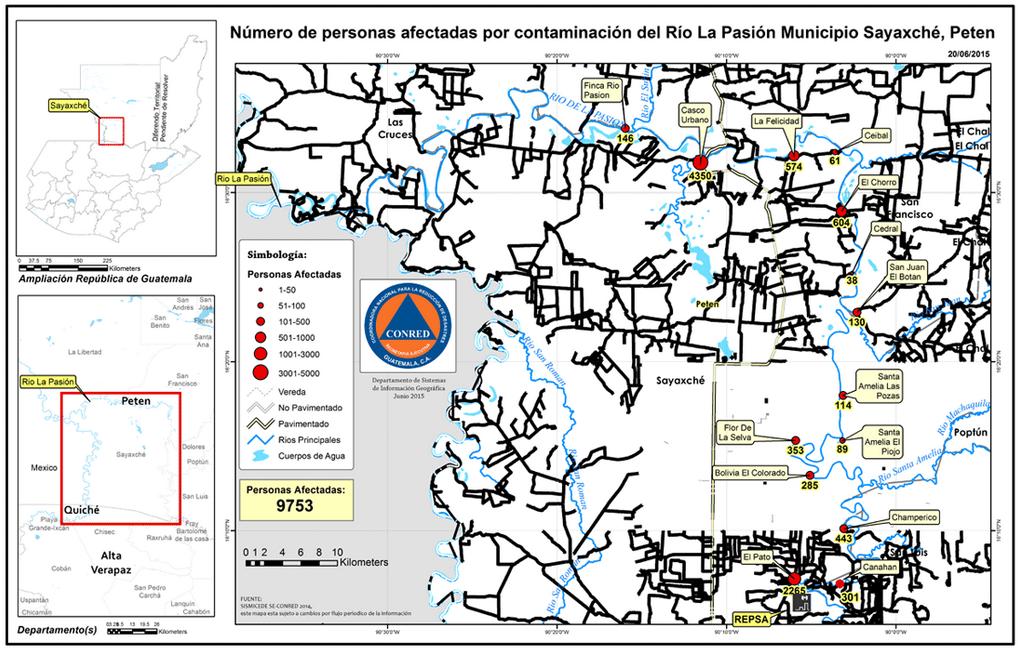 El mapa muestra las comunidades y número de población afectada por la contaminación denunciada en mayo y junio de 2015. Fuente: Conred https://www.conred.gob.gt/www/images/130620152P.png