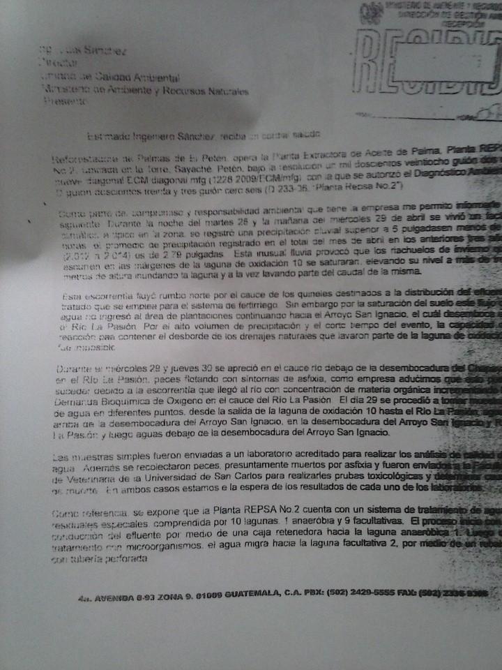 A inicios de mayo, Repsa aceptó responsabilidad por contaminación. Fuente: MARN