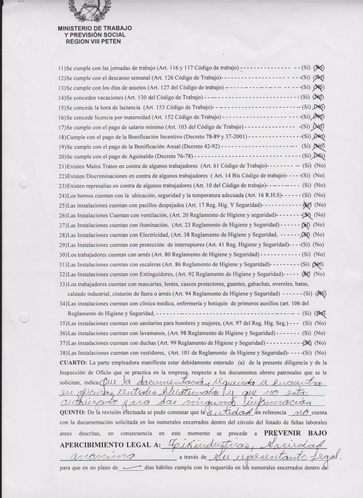 Actas de inspección 28 y 29 febrero 2012. Hoja 2.