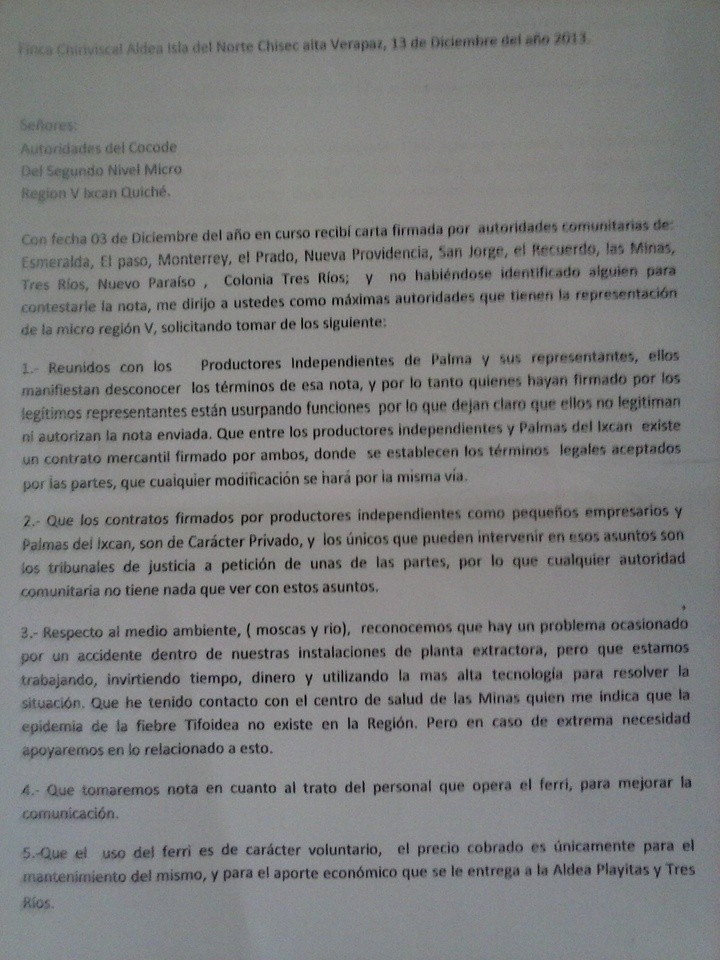 Respuesta de Palmas del Ixcán, a través de Odilsar Cardona, a las autoridades comunitarias del Ixcán, 13/12/13