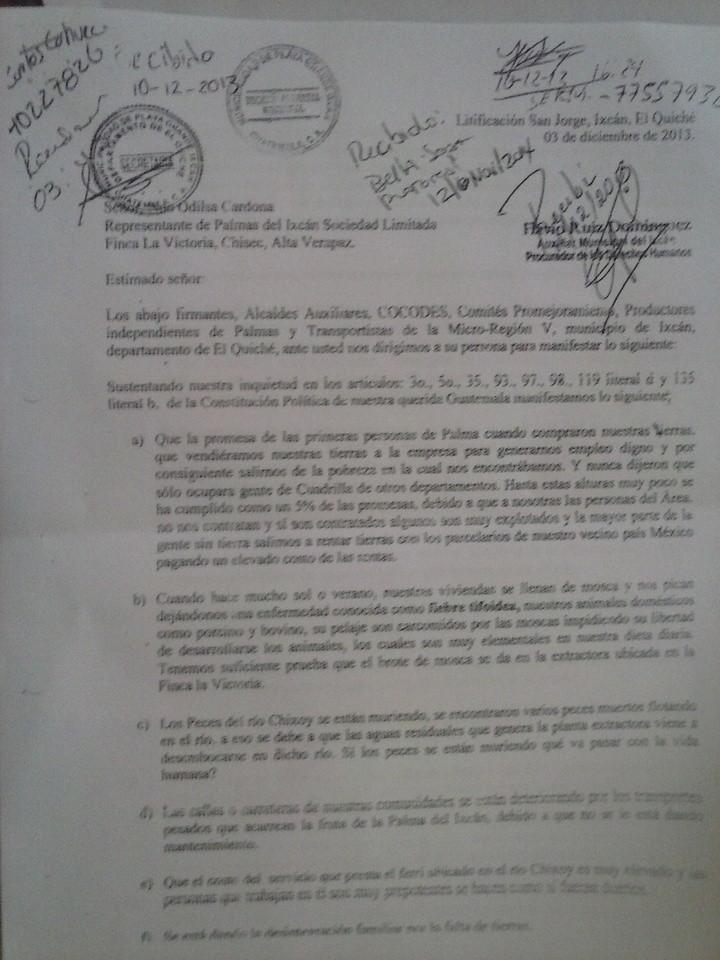 Carta de autoridades locales de Ixcán a Odilsar Cardona, representante de Palmas del Ixcán, 03/12/13