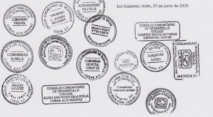Sellos y firmas de comunidades opuestas a megaproyecto Xalalá.