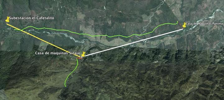 Tramo Panimá-Sinajá: 3,8 km, potencia a transportar: 11.6 MW.  Tramo Sinajá-Cafetal: 2,87 km. Potencia a transmitir: 25 MW