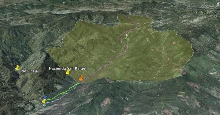 Subproyecto río Panimá. Naranja: Bocatama/ Verde: canal de derivación/ Azul: Cámara de carga/ Amarillo: Casa de Maquinas. El area delimitada es la cuenca colectora para el proyecto. Fuente: MEM.