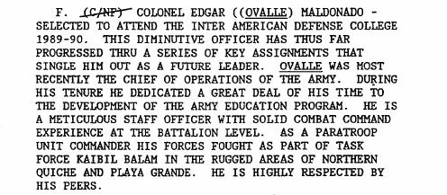 Extracto de documento desclasificado que menciona a Ovalle como parte de Fuerza de Tarea Kaibil Balam.