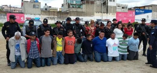 Extorsionistas capturados luego de la operación Bumeran. Foto: Ministerio de Gobernación