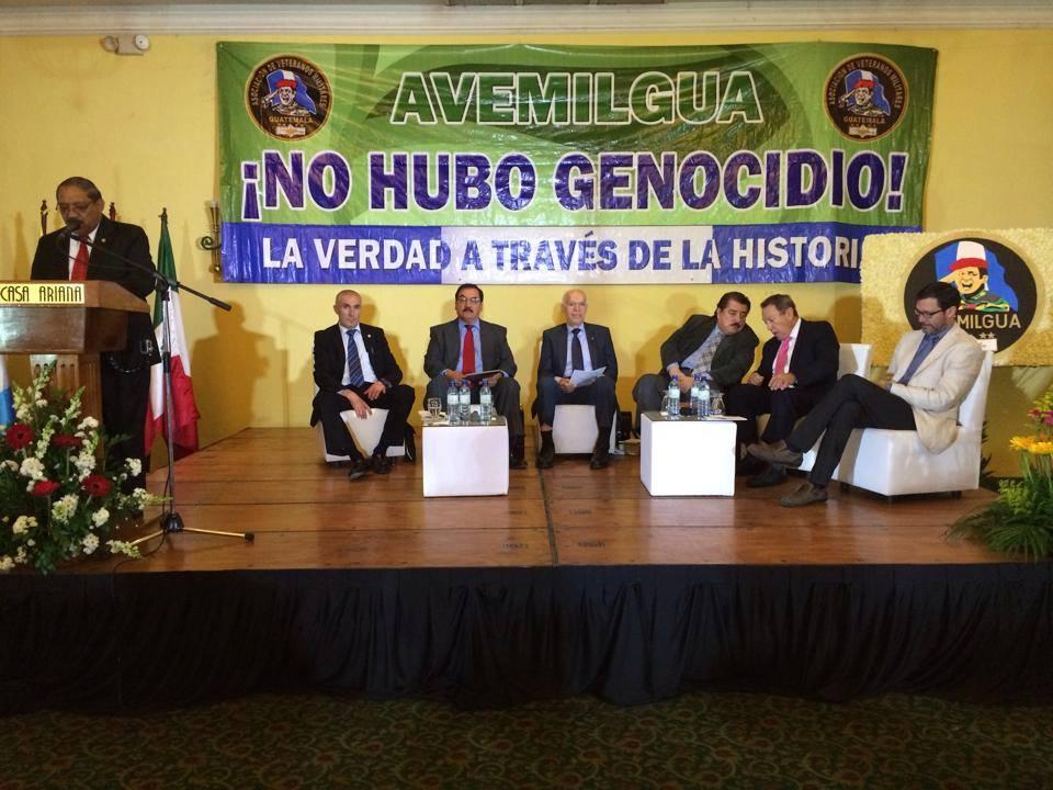 Un foro de Avemilgua en contra de la sentencia de Genocidio. En él aparecen Ricardo Angoso, Diaz Lopez, Platero, Danilo Roca, y Giovanni Fratti