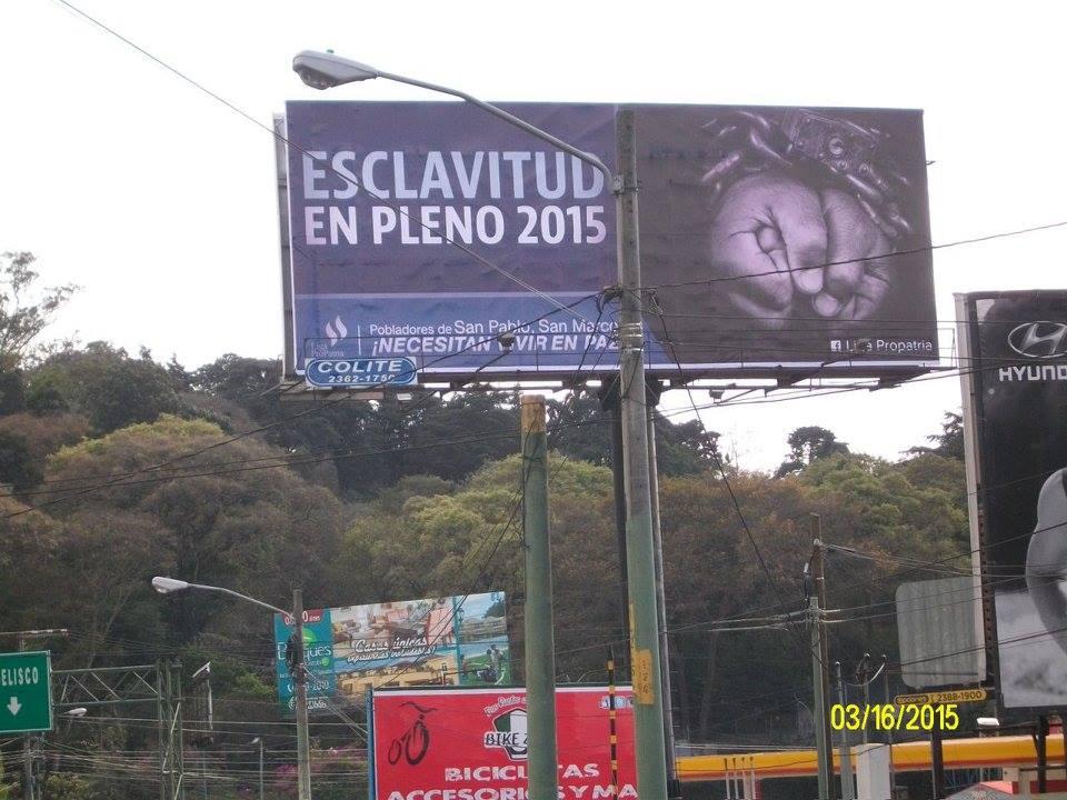 Campaña de la Liga Pro-Patria en la ciudad de Guatemala en contra de la resistencia a una hidroeléctrica financiada por la familia Ayau. Foto: Liga ProPatria