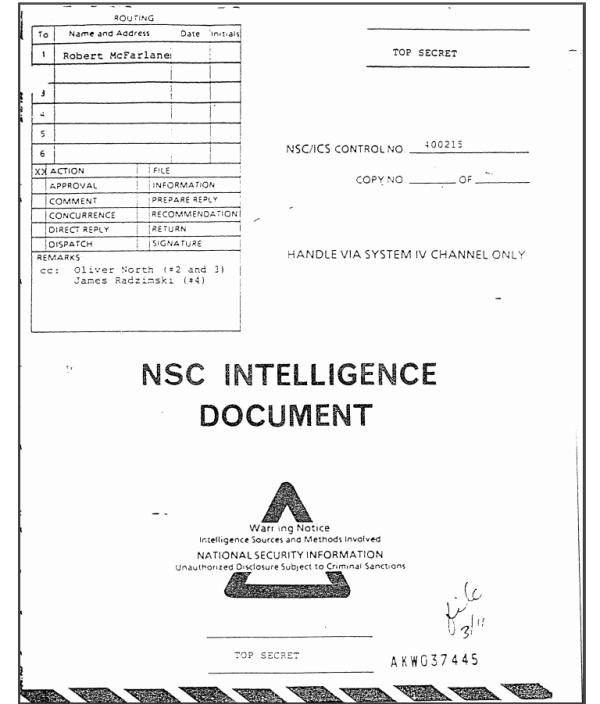 Documento ultra secreto del Consejo Nacional de Seguridad el 5 de marzo de 1985, revela transferencias fraudulentas de armas a Guatemala.
