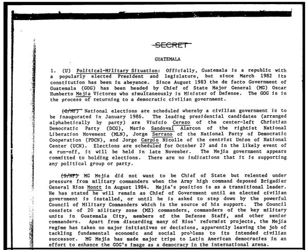 Un reporte secreto de la Agencia de Inteligencia de Defensa en octubre de 1985 describe el recelo inicial de Mejía Víctores de asumir el poder.