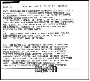 Los comentarios de Chapin sobre el asesinato del empleado de USAID y tres asociados el 6 de septiembre de 1983.