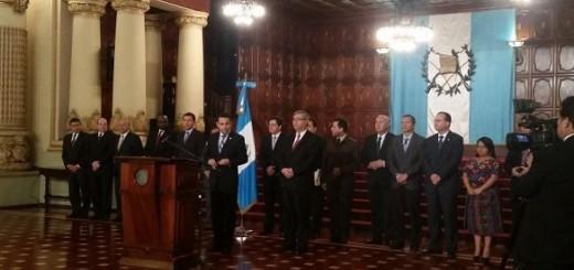 Morales durante su presentación de su magistrada titular y magistrado suplente. Foto: Presidencia