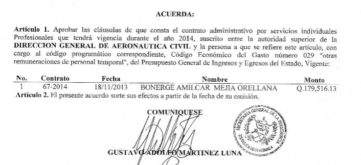 Contrato de Mejía Orellana. Fuente: Guatecompras
