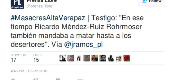 Cuenta de Twitter de Prensa Libre. 12 de enero de 2016.