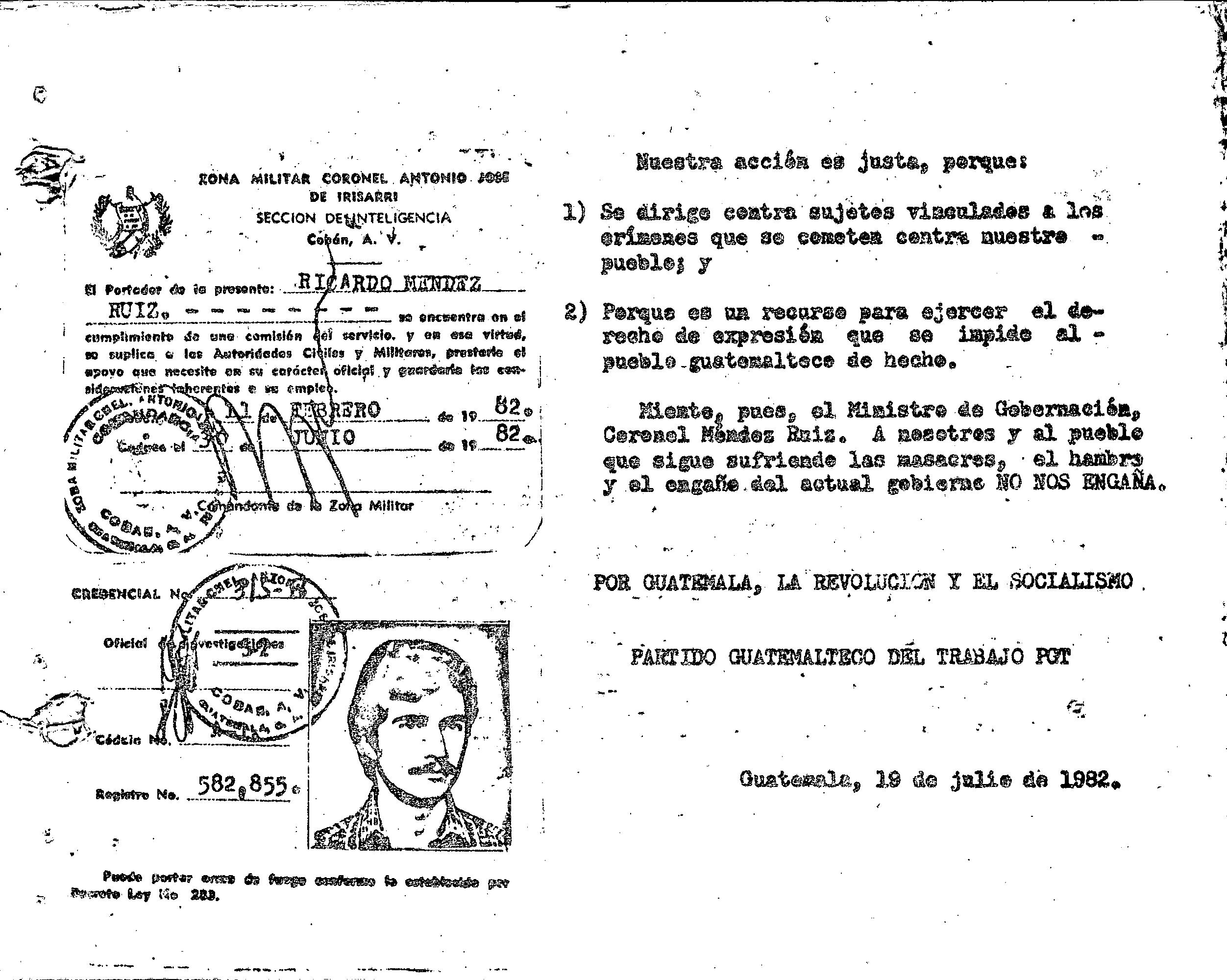 Segunda parte del panfleto distribuido por el PGT donde aparece fotocopiado el Carné de Méndez-Ruiz Valdes. Fuente: Archivo Histórico de la Policía Nacional (AHPN).