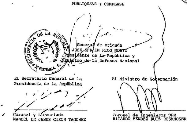 Gobierno del General Efraín Ríos Montt. Decreto Ley 45-82. 01 de julio de 1982