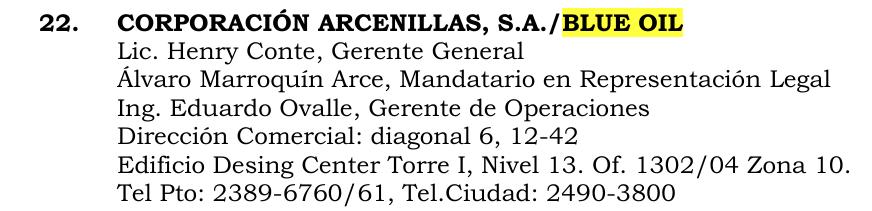 El nombramiento de Comte, según una lista de la Empresa Portuaria Quetzal