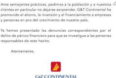 Fragmento del comunicado del banco G&T Continental, de fecha 26 de abril de 2016.