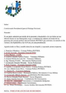 El listado de asistentes a Casa Presidencial.