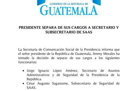 El comunicado del gobierno.