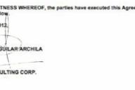 La firma de las partes en el contrato de 2012