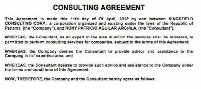 El encabezado del contrato