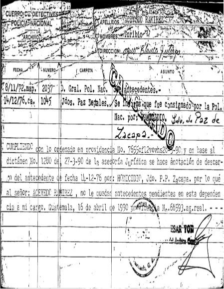 Fuente: Archivo de la Policía Nacional.